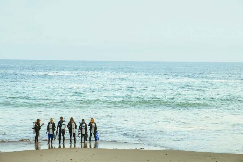 A group of women gather before a dive.