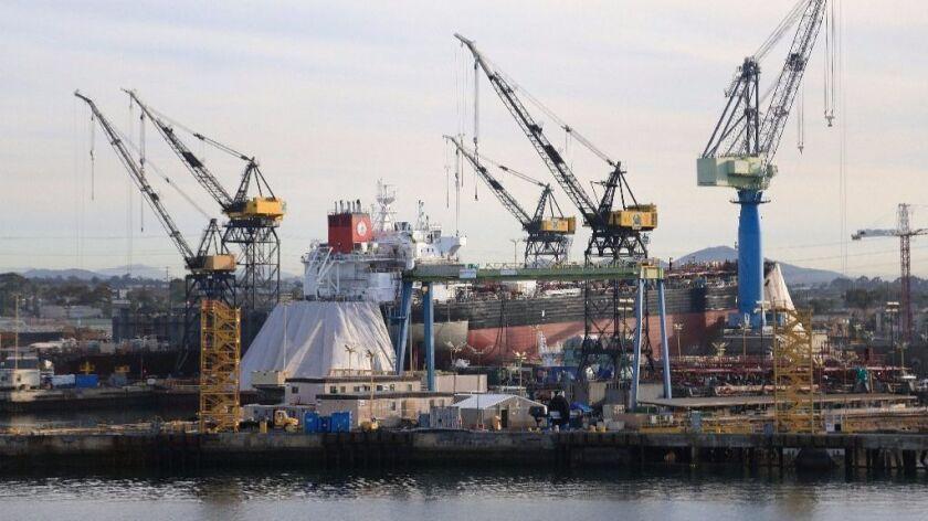 NASSCO shipyard as seen from the bay.