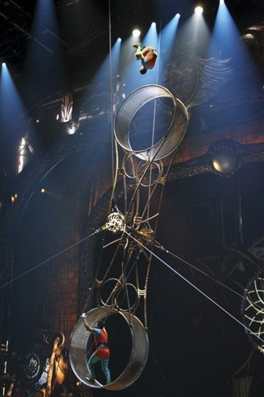 "In this undated theater publicity image released by Cirque du Soleil, a scene from the Cirque du Soleil production ""Zarkana,"" is shown. The acrobatic show is performing at Radio City Music Hall in New York. (AP Photo/Cirque du Soleil, Olivier Samson Arcand)"