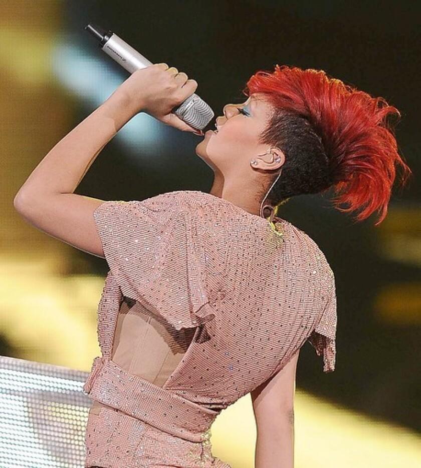 Rihanna had her long locks cut into an edgy bob.
