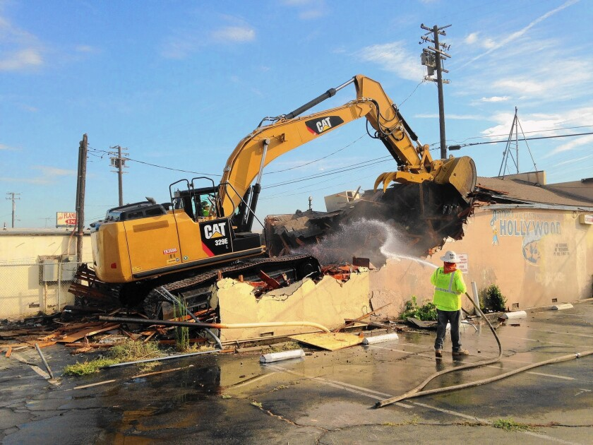 California High-Speed Rail Authority officials cite the demolition of the Hollywood Inn, a closed Fresno nightclub, as a sign of progress on the bullet train project. Work on tracks, stations and bridges has yet to begin.