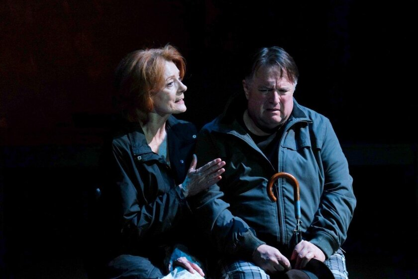 """Rosina Reynolds and Tom Stephenson play Gabrielle York and Joe Ryan in """"When the Rain Stops Falling"""" at Cygnet Theatre in Old Town."""