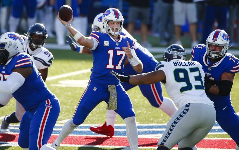 Buffalo Bills quarterback Josh Allen throws against the Seattle Seahawks during Sunday's 44-34 win.
