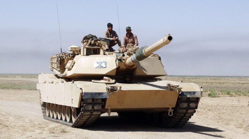 An Iraqi army tank, purchased from the U.S. patrols in an eastern suburb of Ramadi, Anbar province, Iraq.
