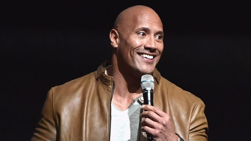 Actor Dwayne Johnson speaks onstage during the Sony Pictures presentation at CinemaCon 2017.