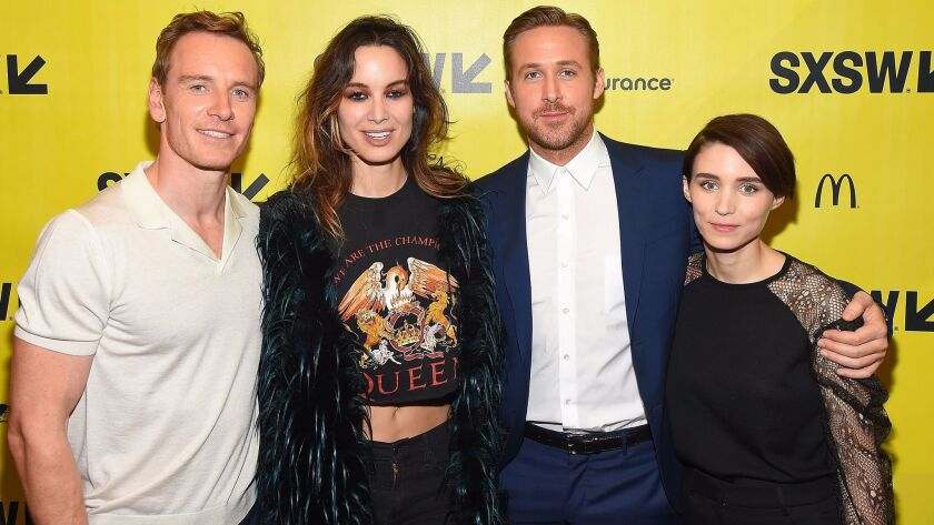 """Actors Michael Fassbender, Berenice Marlohe, Ryan Gosling and Rooney Mara appear at the """"Song to Song"""" world premiere during the 2017 South by Southwest festival."""