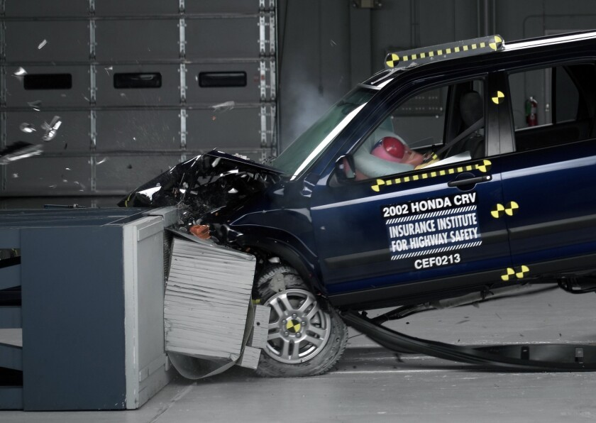 This photo provided by the Insurance Institute for Highway Safety shows a crash test of a 2002 Honda CR-V, one of the models subject to a recall to repair faulty air bags.