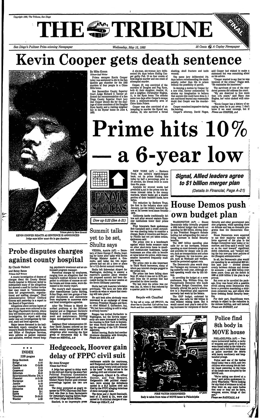 May 15, 1985 Tribune front page with sentencing for Kevin Cooper.