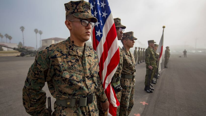 U.S. Marines joined soldiers from the Japan Ground Self Defense Force to kick off Exercise Iron Fist at Camp Pendleton on Friday. The annual war games will pair elements of the 11th Marine Expeditionary Unit with Japan's Western Army Infantry Regiment during the training.