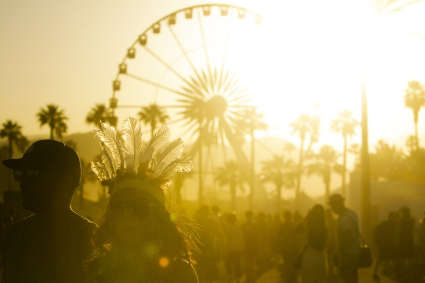 The sun sets over the Coachella Valley Music and Arts Festival on April 20, 2013.