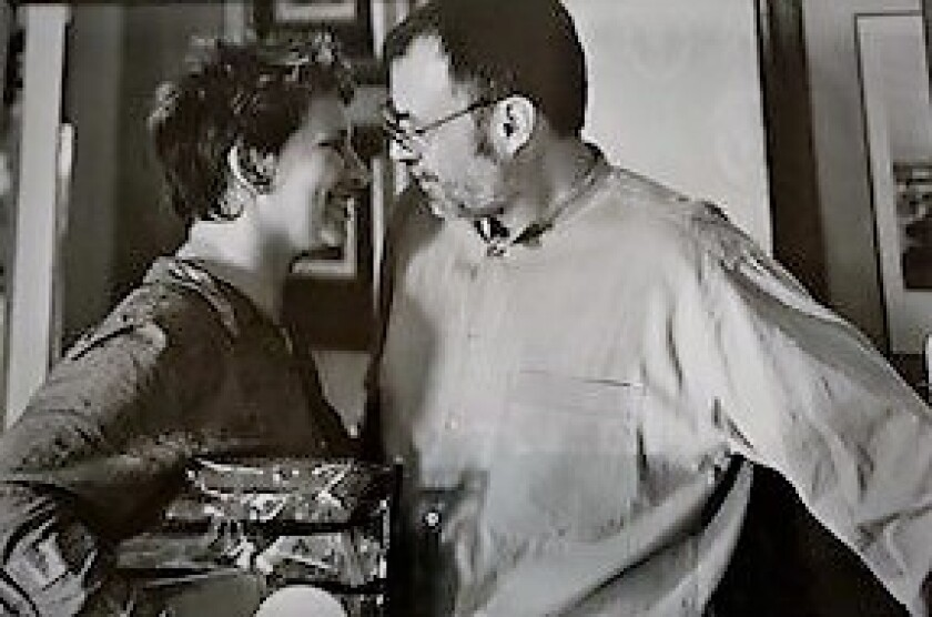 """Academy Award-winning makeup artist Lois Burwell is with her future husband, cinematographer John Toll, on the movie set of """"Almost Famous,"""" shown here. Toll collected back-to-back Oscars for """"Legends of the Fall"""" and """"Braveheart"""" in 1994 and 1995. Both will be honored Nov. 10 at the Coronado Island Film Festival for their individual contributions to the film industry."""