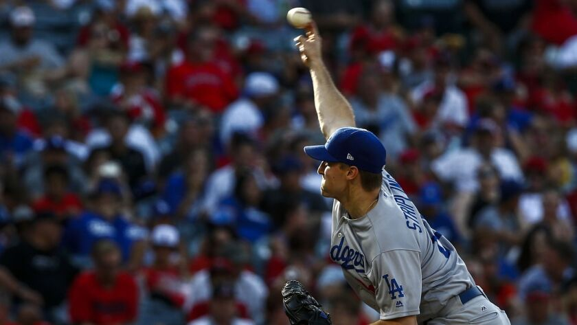 ANAHEIM, CALIF. - JULY 07: Los Angeles Dodgers relief pitcher Ross Stripling (68) pitches against th