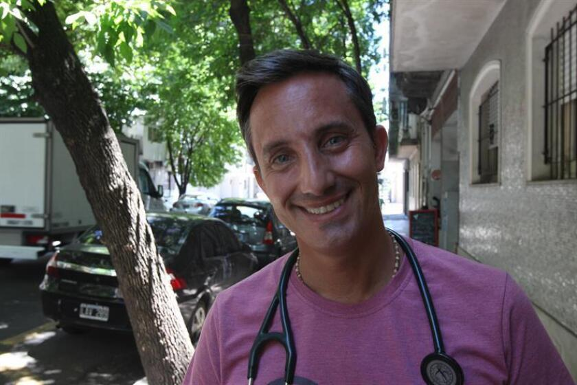 Dr. Mariano Masciocchi, founder of a group of medical professionals who donate their time to treat the homeless, poses for a photo on Wednesday, Dec. 26, in Buenos Aires. EFE-EPA//Tono Gil