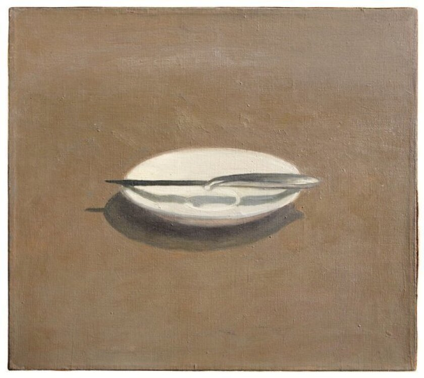 """Los Angeles Modern Auctions will offer Vija Celmins' """"Untitled (Knife and Dish)"""" from 1964, estimated at $300,000 to $500,000, in a May 19 sale."""