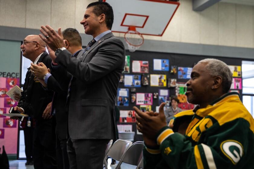 Jon Hatami at a dedication ceremony for Gabriel Fernandez at Summerwind Elementary School.