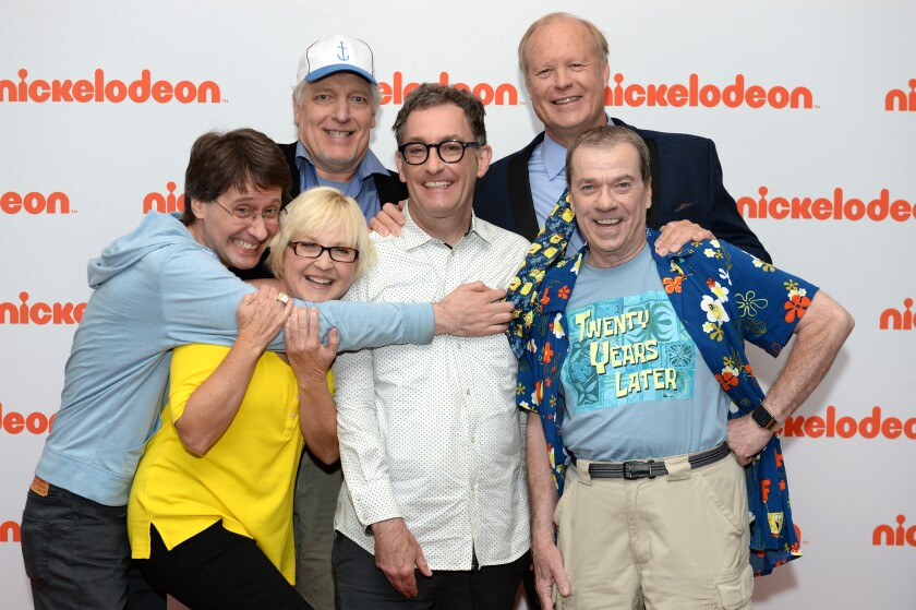 "Mr. Lawrence (Plankton), Carolyn Lawrence (Sandy Cheeks), Clancy Brown (Mr. Krabs), Tom Kenny (SpongeBob SquarePants), Bill Fagerbakke (Patrick Star), Rodger Bumpass (Squidward) of Nickelodeon's ""SpongeBob SquarePants"" attend a 20th anniversary special screening and press junket"