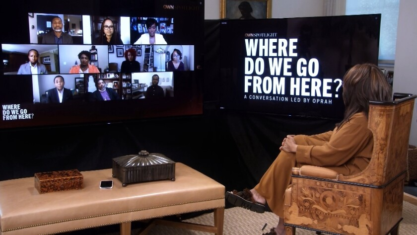 Oprah Winfrey convenes black leaders to discuss race and racism in America in the wake of George Floyd's death.