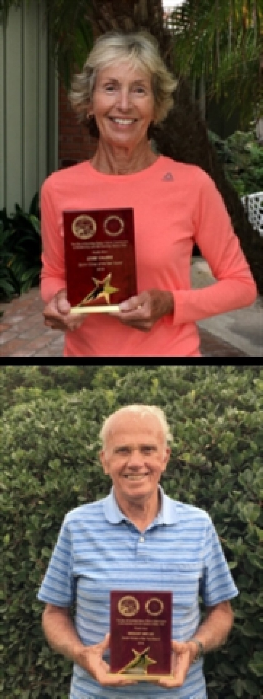 Lynne Calkins and Gregory Butler received the Encinitas Senior of the Year Award for 2019.