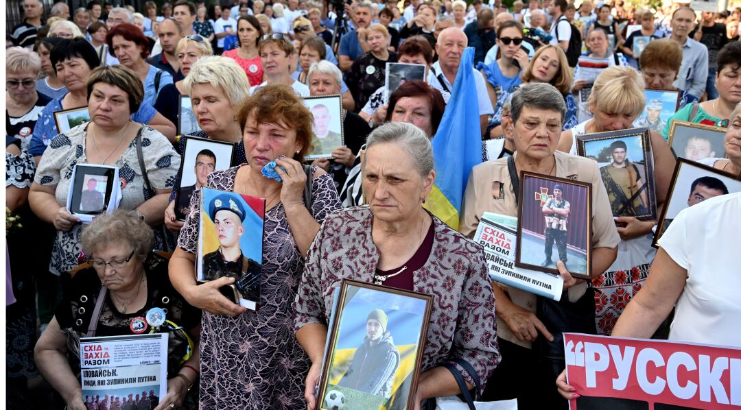 Mothers and widows of dead Ukrainian servicemen hold a memorial rally in front of the Russian Embassy in Kyiv 2019.