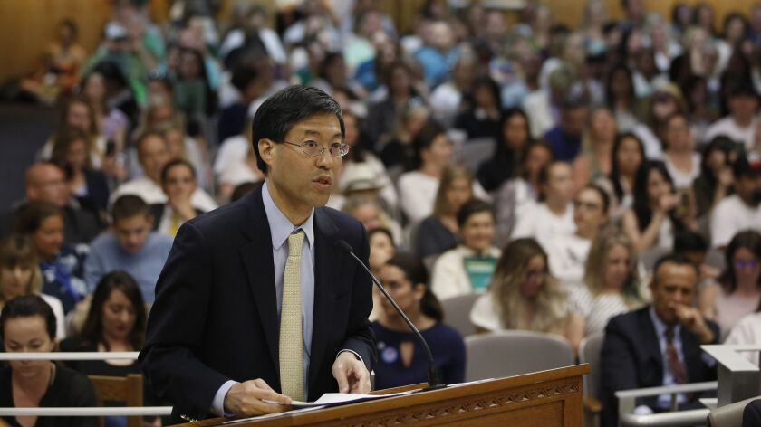 State Sen. Dr. Richard Pan, D-Sacramento, urges lawmakers to approve his proposal to give state public health officials instead of local doctors the power to decide which children can skip their shots before attending school, at the Capitol Wednesday, April 24, 2019, in Sacramento, Calif. Pan, a pediatrician, said his legislation would give state health officials the tools they need to prevent outbreaks of vaccine-preventable diseases like measles. (AP Photo/Rich Pedroncelli)