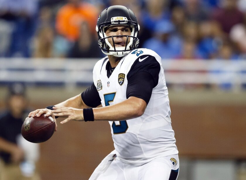 FILE - In this Aug. 22, 2014, file phot, Jacksonville Jaguars quarterback Blake Bortles looks to throw a pass against the Detroit Lions during a preseason NFL football game at Ford Field in Detroit. Bortles spent more than two months in California during the offseason working on his mechanics, mostly footwork, with quarterback guru Tom House and NFL journeyman Jordan Palmer. (AP Photo/Rick Osentoski, File)