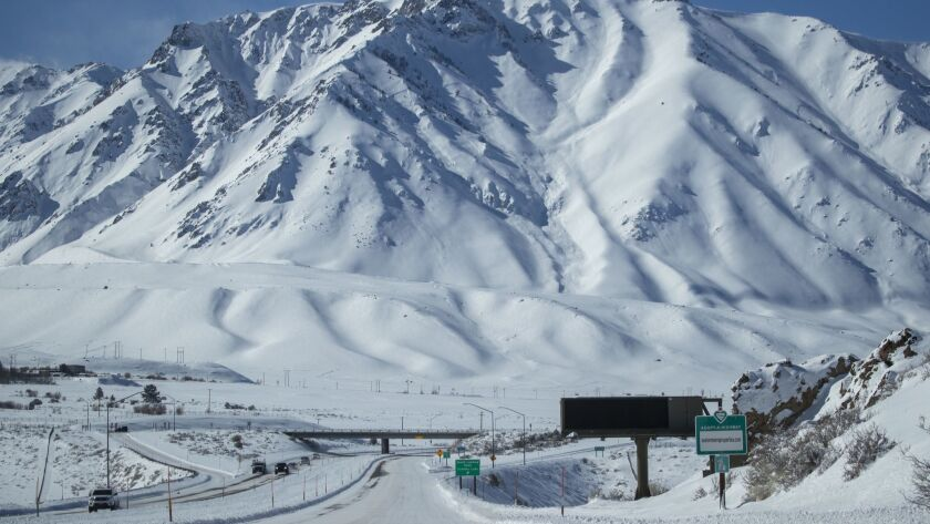 MAMMOTH LAKES, CALIF. -- WEDNESDAY, FEBRUARY 6, 2019: Snow blankets Highway 395 and the Eastern Sier