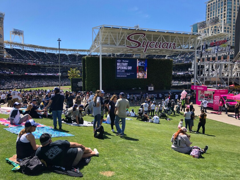 Padres fans gather for 2019 opening day at Petco Park, where vaccine shots will be offered