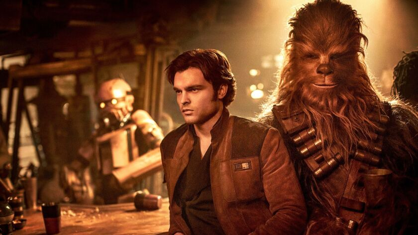 (L-R) - Alden Ehrenreich is Han Solo and Joonas Suotamo is Chewbacca in SOLO: A STAR WARS STORY. Cre