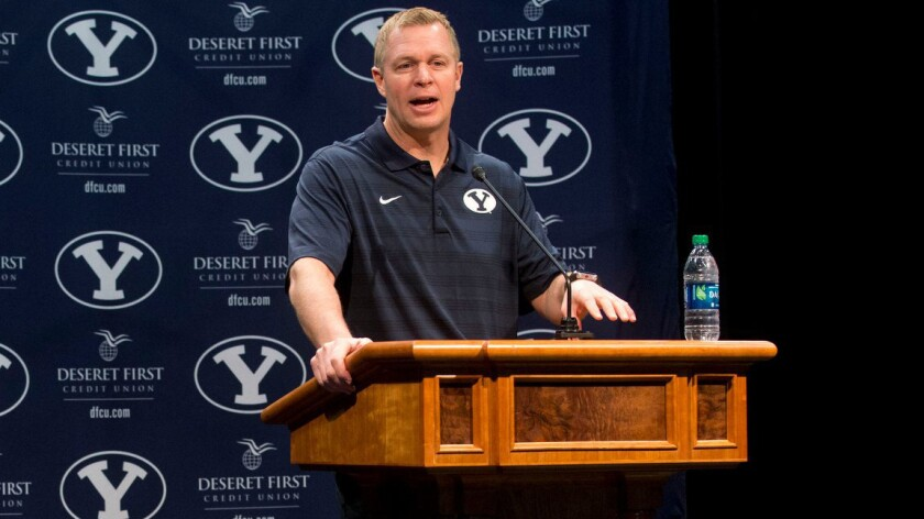Brigham Young University football Coach Bronco Mendenhall speaks during a news conference in Provo, Utah, on Feb. 4.