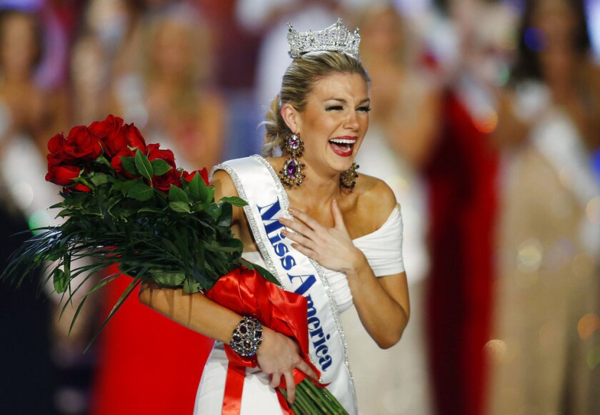In this Jan. 12, 2013 file photo, Miss New York Mallory Hagan reacts as she is crowned Miss America 2013 in Las Vegas. Hagan is running for Congress in eastern Alabama. The 29-year-old Opelika native announced her Democratic bid for Alabama's District 3 seat on Tuesday, Feb. 6, 2018.