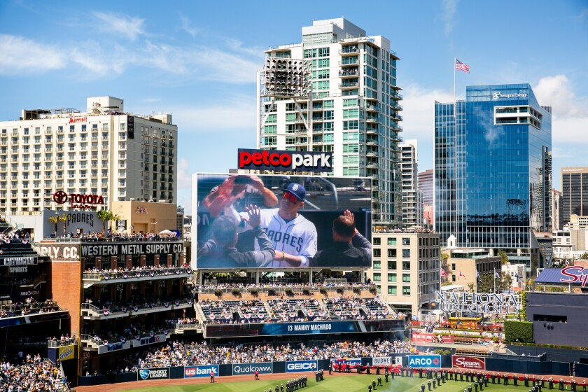 Manny Machado is introduced during ceremonies prior to the first pitch on Opening Day 2019 for the San Diego Padres at Petco Park.