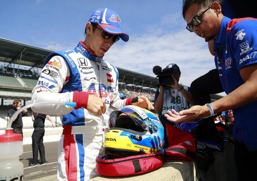 Takuma Sato, of Japan, during the final practice session for the Indianapolis 500 auto race at Indianapolis Motor Speedway in Indianapolis, Friday, May 27, 2016. (AP Photo/R Brent Smith)