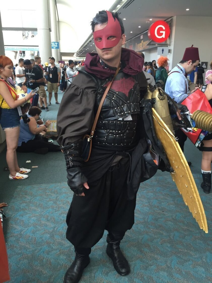 Comic-Con cosplayer Cody Wyld Flower, 25, of Oregon came to show off his version of Red Hood, the second Robin in the Batman comic series.
