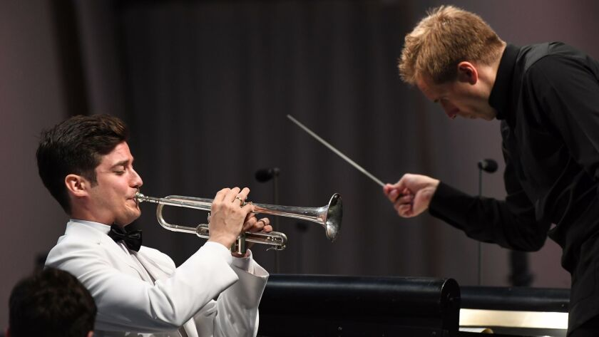 HOLLYWOOD, CALIFORNIA AUGUST 4, 2017-Soloist Tamas Paifalvi and conductor Vasily Petrenko erform at