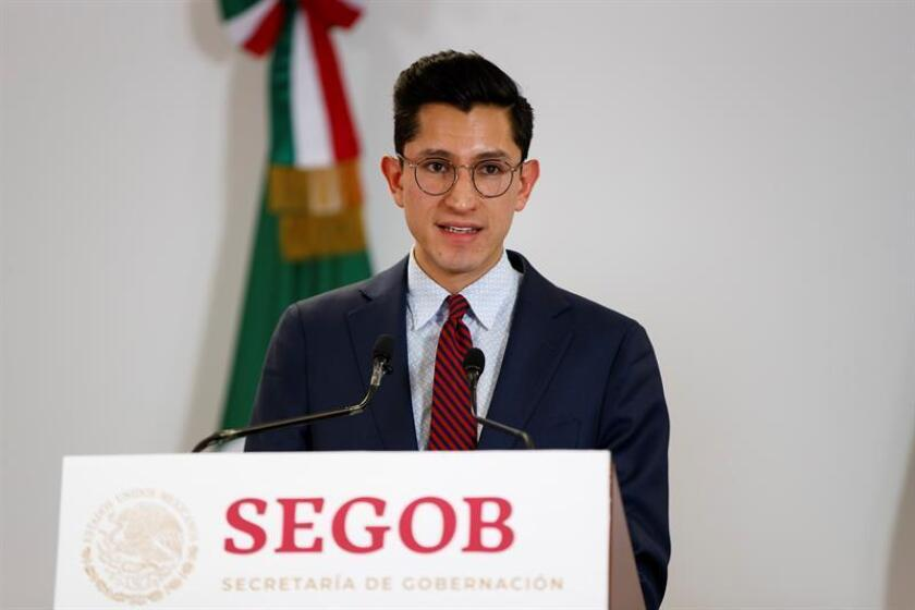 Roberto Velasco, spokesman for the Mexican Foreign Affairs Secretariat, expresses during this press conference on Jan. 25, 2019, the Mexican government's criticism of the United States for sending Central American applicants for US asylum back to Mexico while their applications are being processed. EFE-EPA/Jose Mendez