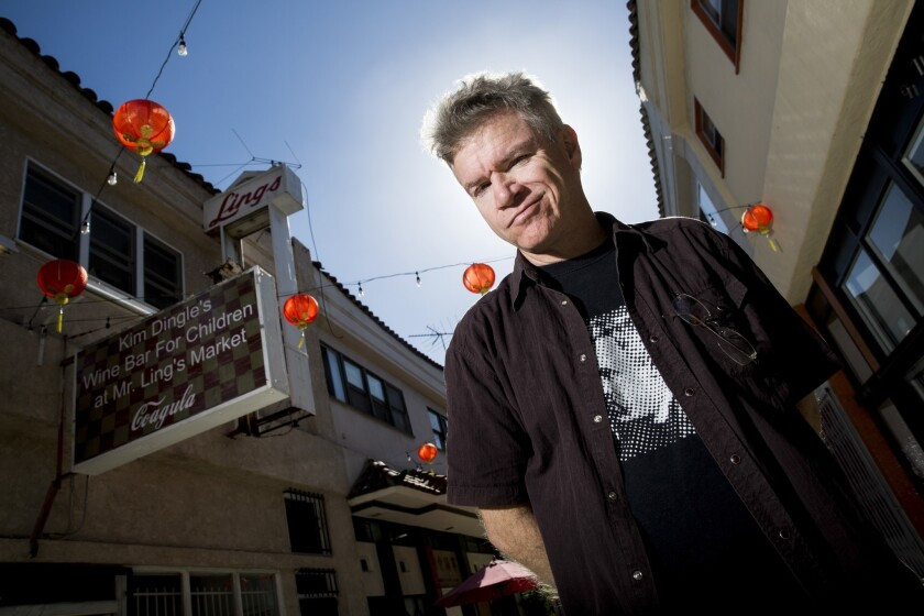 Mat Gleason is photographed outside his Chinatown gallery.
