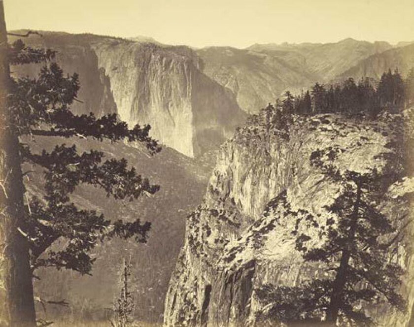 "California's first great artist was a photographer -- Carleton Watkins, who worked throughout the West in the mid-19th century. His work blossomed into maturity in the 1860s, with big images that evoked not just paintings but also the immensity of the Western landscape. This view of the Yosemite Valley is included in an exhibit at the Getty Museum, ""Dialogue Among Giants: Carelton Watkins and the Rise of Photography in California."""