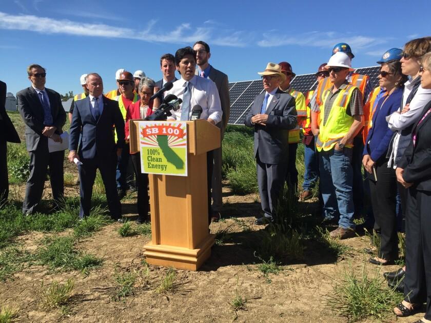 Senate leader Kevin de León announces Senate Bill 100 at a solar farm in Davis in May.