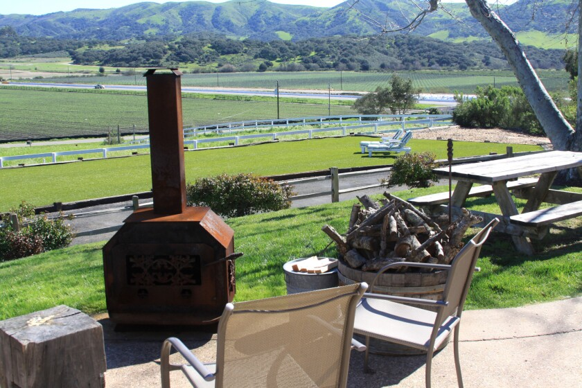 Central Coast evenings are beautiful, and if you find it a bit chilly, fire up the chimenea at Vineyard View Ranch.