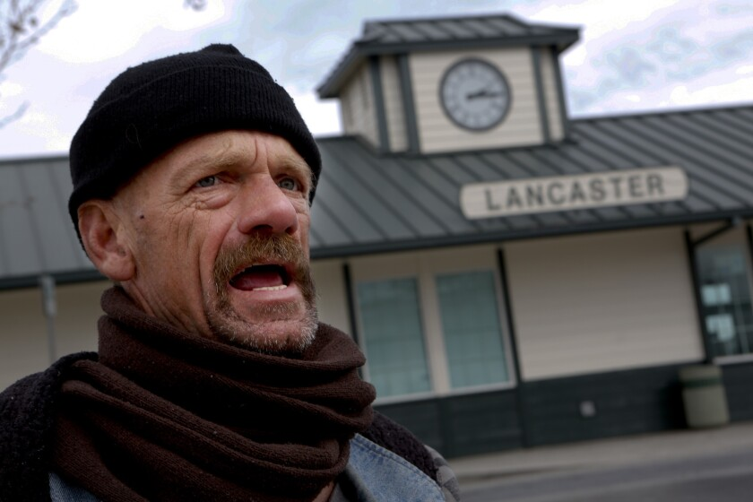 Martin Bernard Freeman, 50, talks about what it's like to be homeless in Lancaster. On this evening he will walk over to the Lancaster Community Shelter where he'll board a bus and sleep in a cot at the Antelope Valley Fairgrounds.