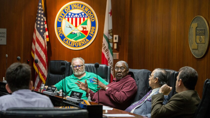 Members of Inglewood's Citizen Police Oversight Commission meet at Inglewood City Hall.