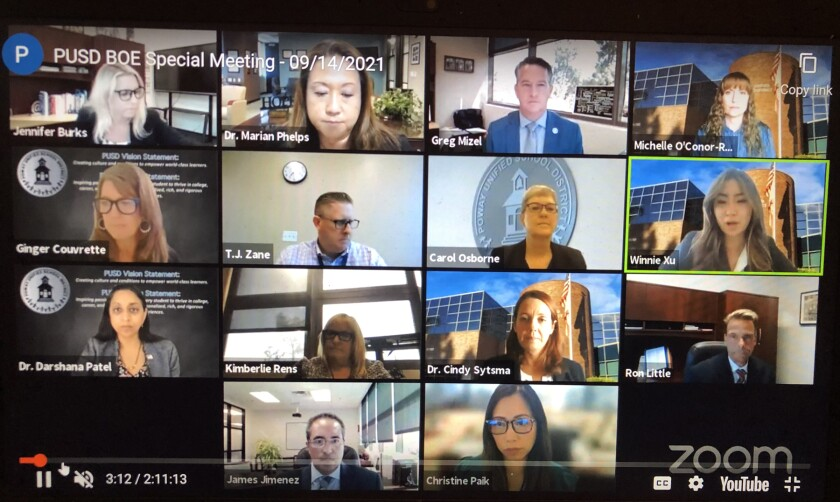 The Poway Unified School District board meeting held virtually on Sept. 14, 2021.