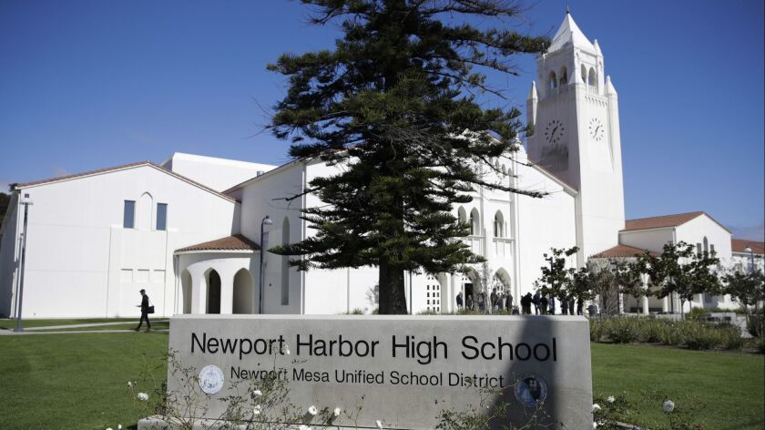 A general view of Newport Harbor High School is shown, Thursday, March 7, 2019, in Newport Beach, Ca
