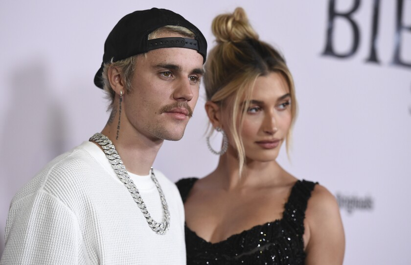 "Justin Bieber and Hailey Baldwin at the Los Angeles premiere of ""Justin Bieber: Seasons"""
