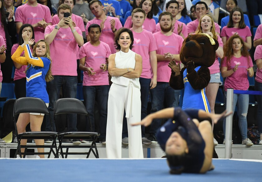 Former UCLA gymanstics coach Valorie Kondos Field watches one of his gymnasts compete during a meet at Pauley Pavilion last year.