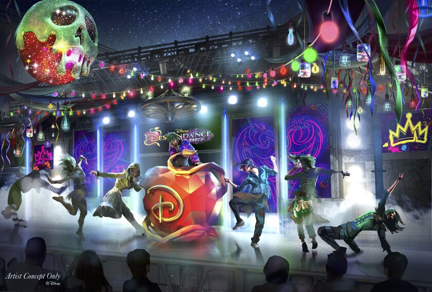 """During the all-new Oogie Boogie Bash, A Disney Halloween Party at Disney California Adventure Park, DescenDANCE, a new dance party inspired by the """"Descendants"""" movies will take place in the Hollywood Backlot area. The parties run 20 select nights from Sept. 17-Oct. 31."""