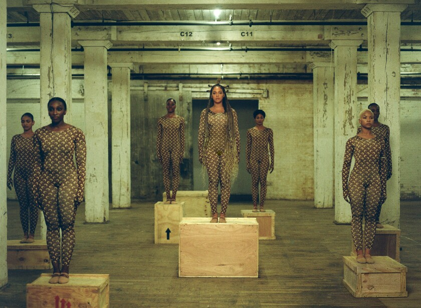 "Beyoncé, at center, with fellow dancers in ""Already"" — clad in Marine Serre bodysuits."