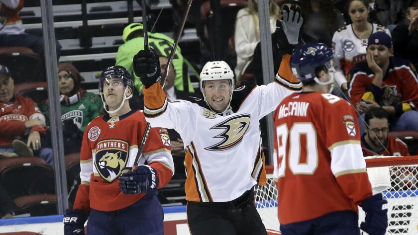 Ducks left wing Nick Ritchie celebrates after scoring a goal during the second period.