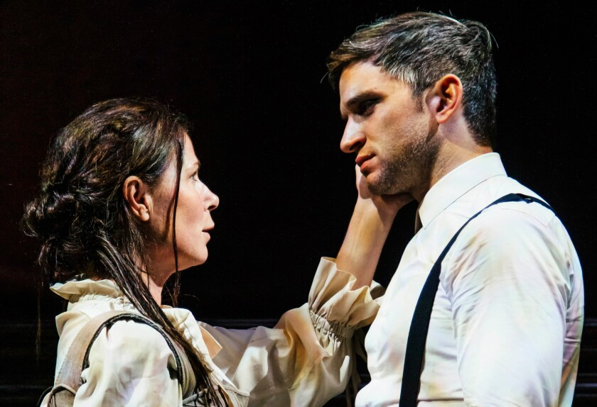 "Maura Tierney and Evan Jonigkeit in ""Witch"" at Geffen Playhouse."