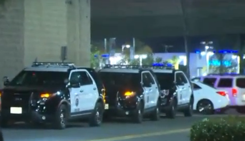 Police outside Westfield Culver City mall during disturbance